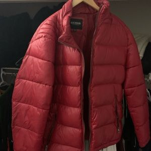 Men's Guess red bubble coat
